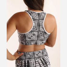 Load image into Gallery viewer, Black and White Light Painting Padded Sports Bra