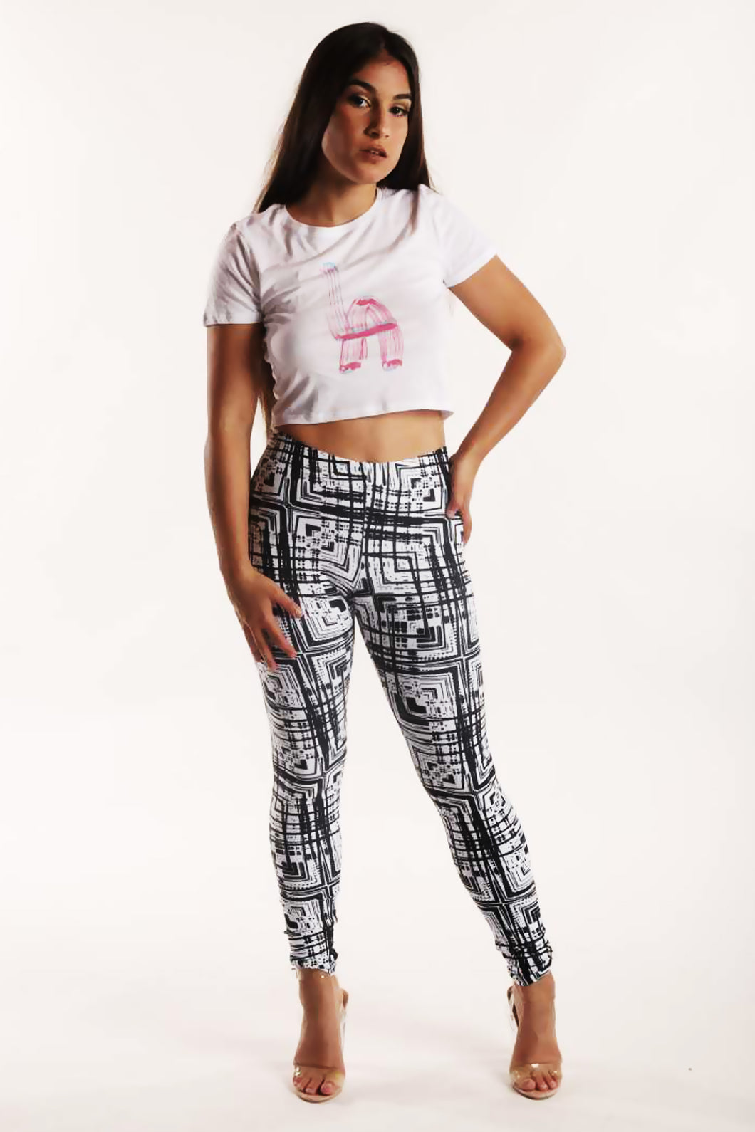 Black and White Light Painting Leggings