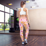 Yoga Leggings Pink and Yellow Flowers