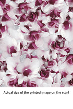 Load image into Gallery viewer, Violet and White Flower Scarf