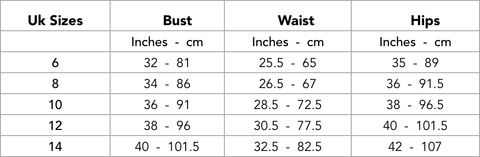 Swimwear Size Guide