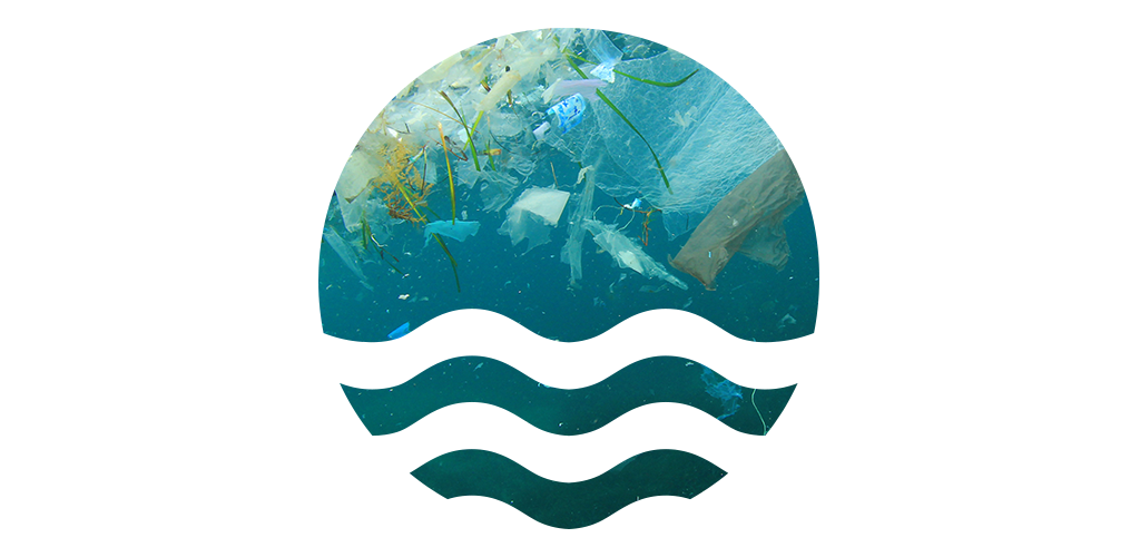 Eco logo with underwater ocean waste