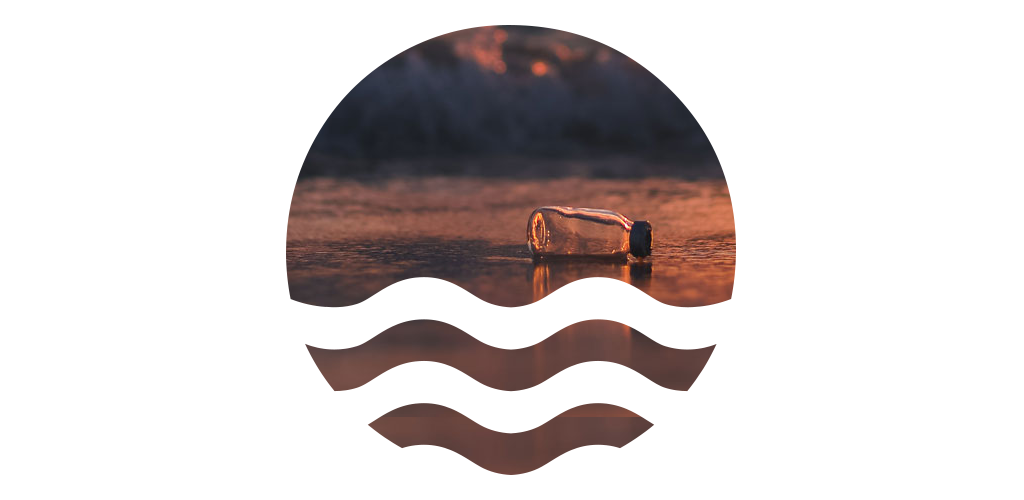Eco logo with washed up bottle on a beach