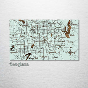 Dallas, Texas Whimsical Map - Fire & Pine
