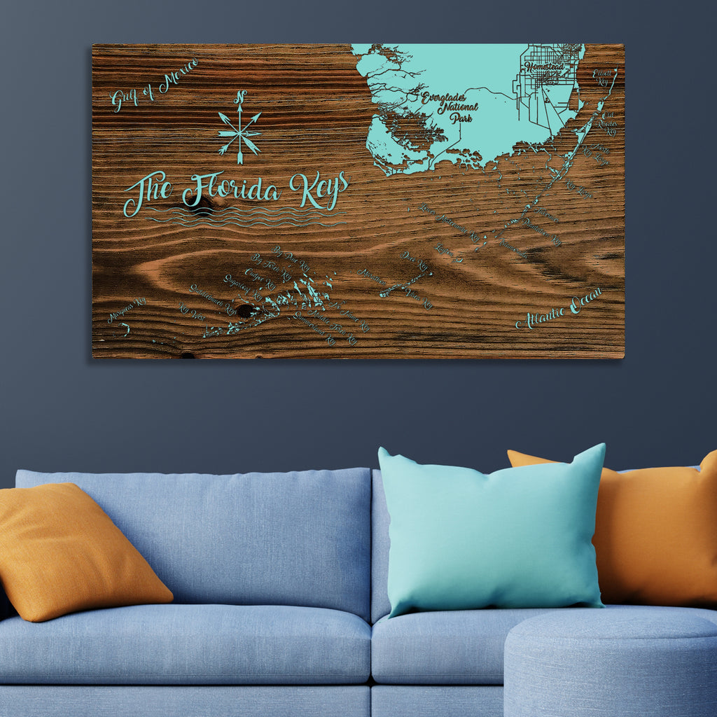 Florida Keys, Florida Whimsical Map - Fire & Pine