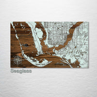 Fort Myers, Florida Whimsical Map - Fire & Pine