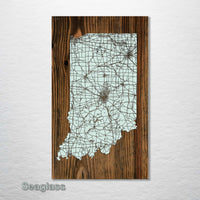 Indiana Isolated Map - Fire & Pine