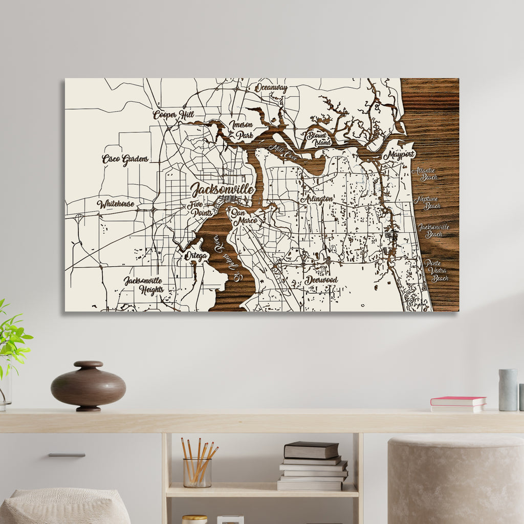 Jacksonville, Florida Whimsical Map - Fire & Pine