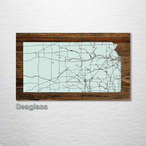 Kansas Isolated Map - Fire & Pine