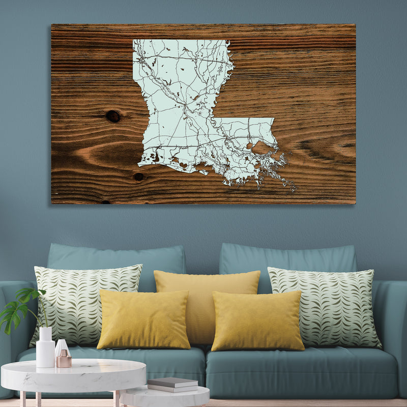 Louisiana Isolated Map - Fire & Pine