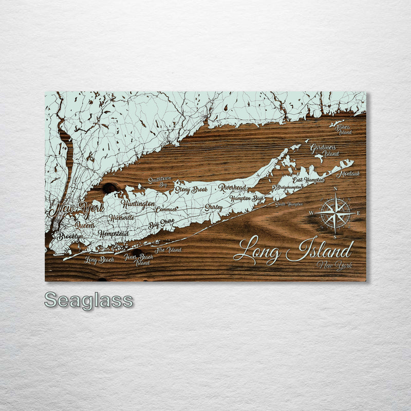 Long Island, New York Whimsical Map - Fire & Pine
