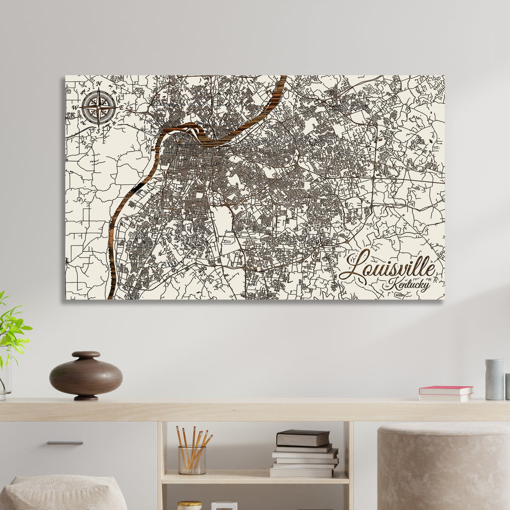Louisville, Kentucky Street Map - Fire & Pine