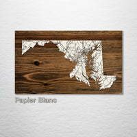 Maryland Isolated Map - Fire & Pine