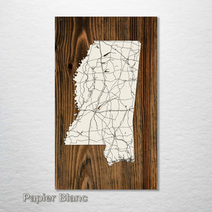 Mississippi Isolated Map - Fire & Pine
