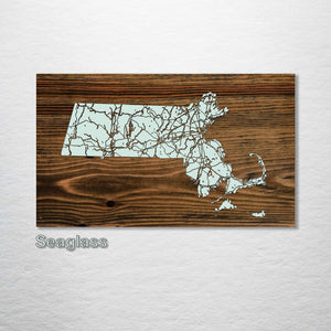 Massachusetts Isolated Map - Fire & Pine