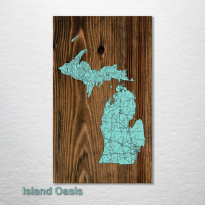 Michigan Isolated Map - Fire & Pine