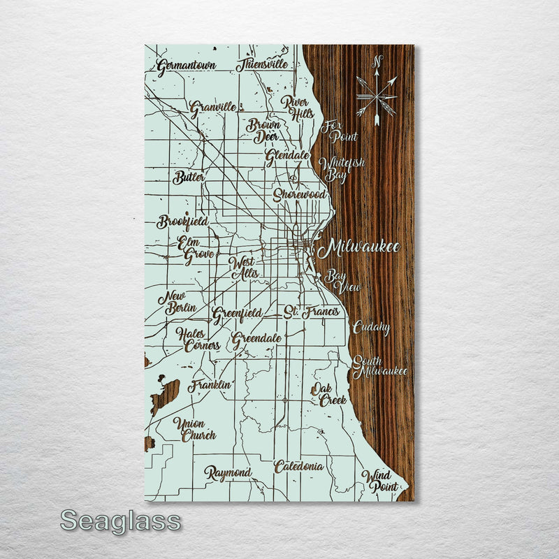Milwaukee, Wisconsin Whimsical Map - Fire & Pine