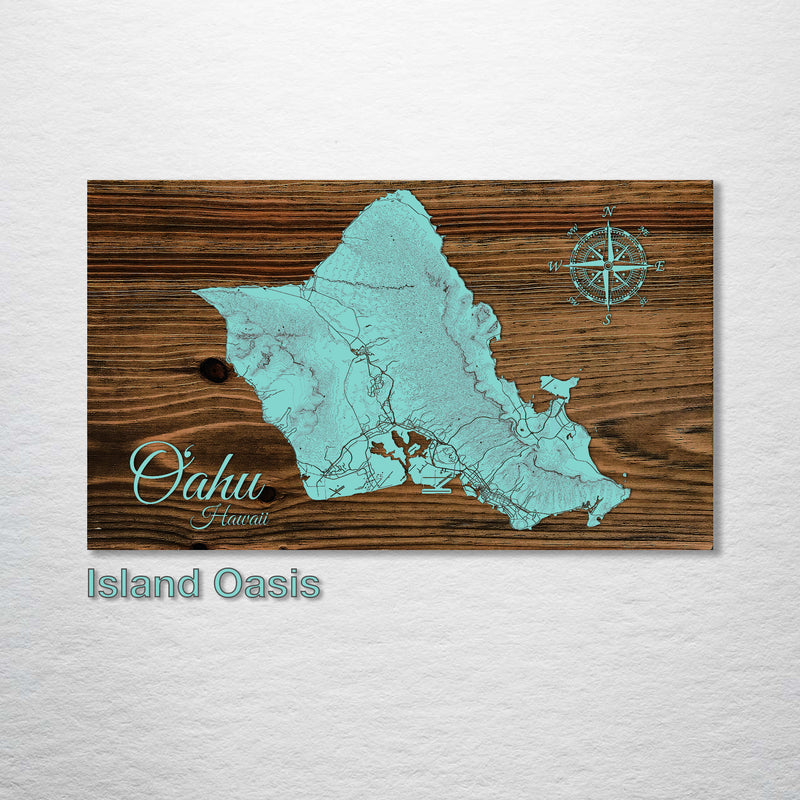 Oahu, Hawaii Topographical Map - Fire & Pine