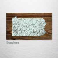 Pennsylvania Isolated Map - Fire & Pine