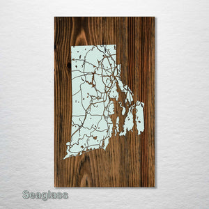 Rhode Island Isolated Map - Fire & Pine