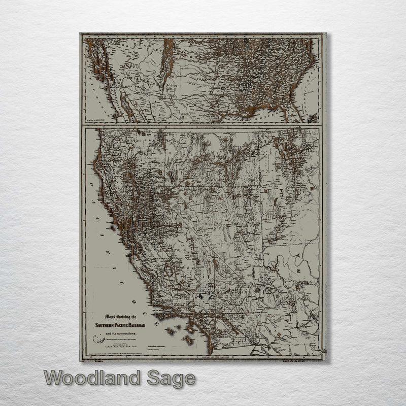 Historic Map of the Southern Pacific Railroad - Fire & Pine