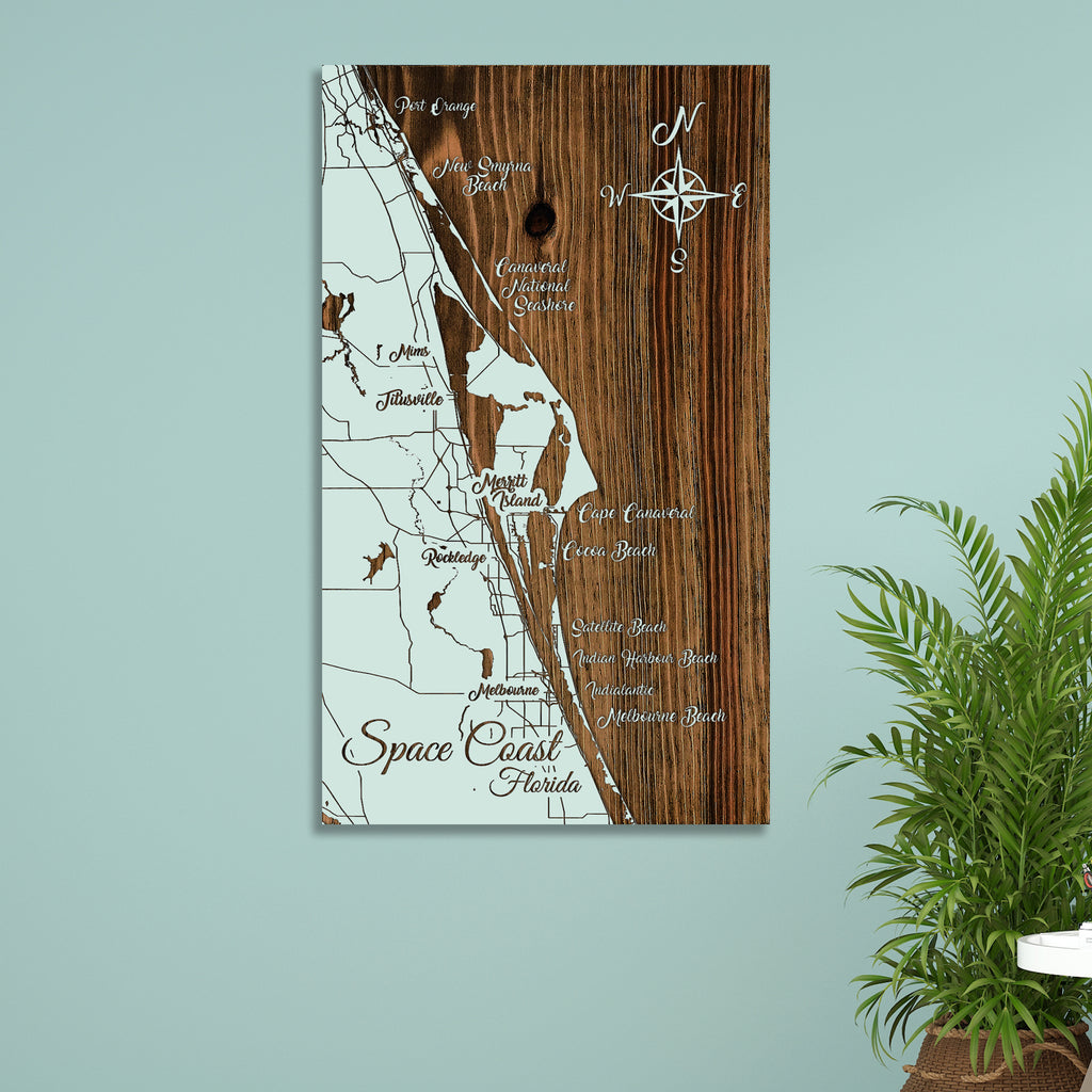 Space Coast, Florida Whimsical Map - Fire & Pine
