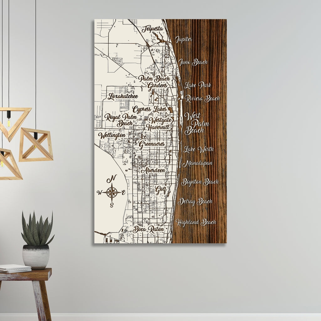 West Palm Beach, Florida Whimsical Map - Fire & Pine
