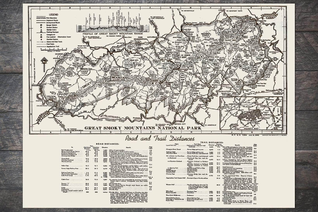 Great Smoky Mountains Road & Trail Distances 1940 - Fire & Pine