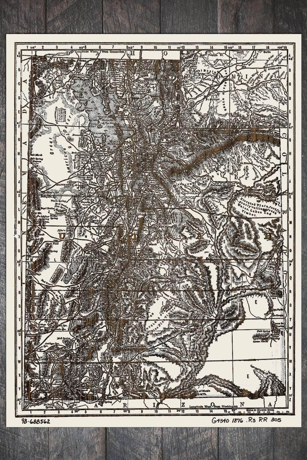 Indexed Map of Utah 1876 - Fire & Pine