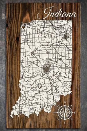 Isolated State of Indiana w/Heart - Fire & Pine