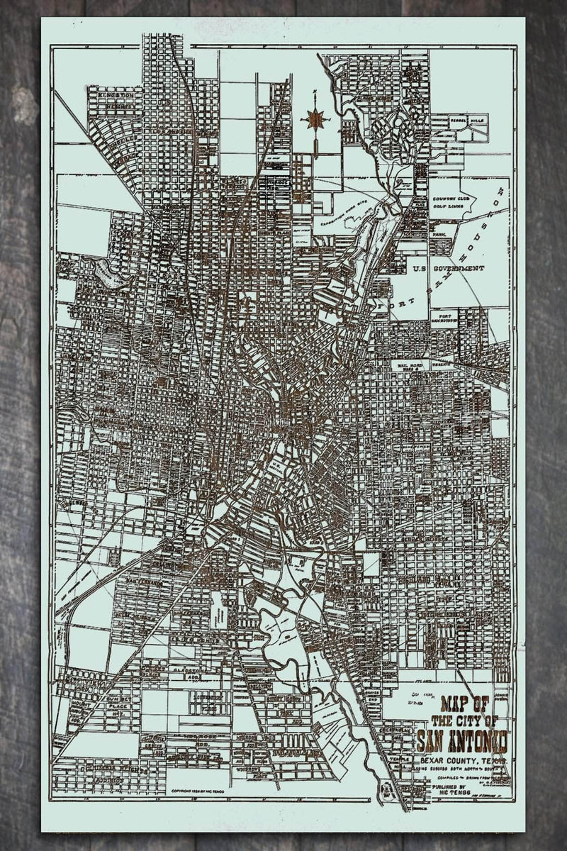 Map of San Antonio in Bexar County 1924 - Fire & Pine