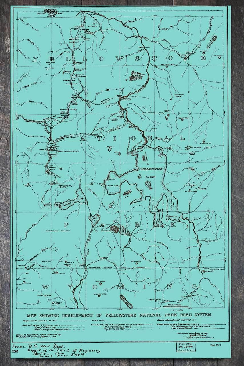 Yellowstone National Park Road System 1930 - Fire & Pine
