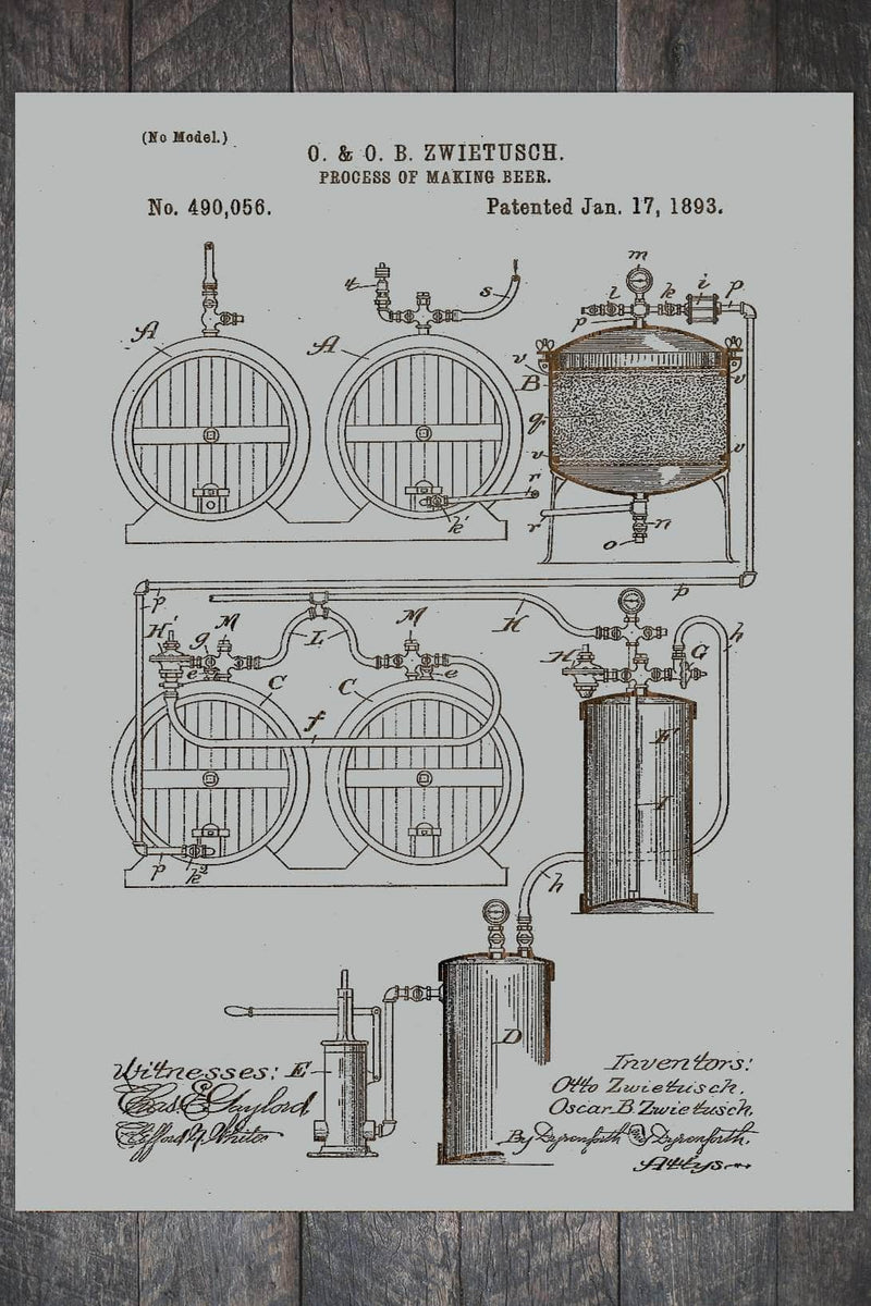 Fire & Pine Patent Process of Making Beer 1893 PB016-MI-LU