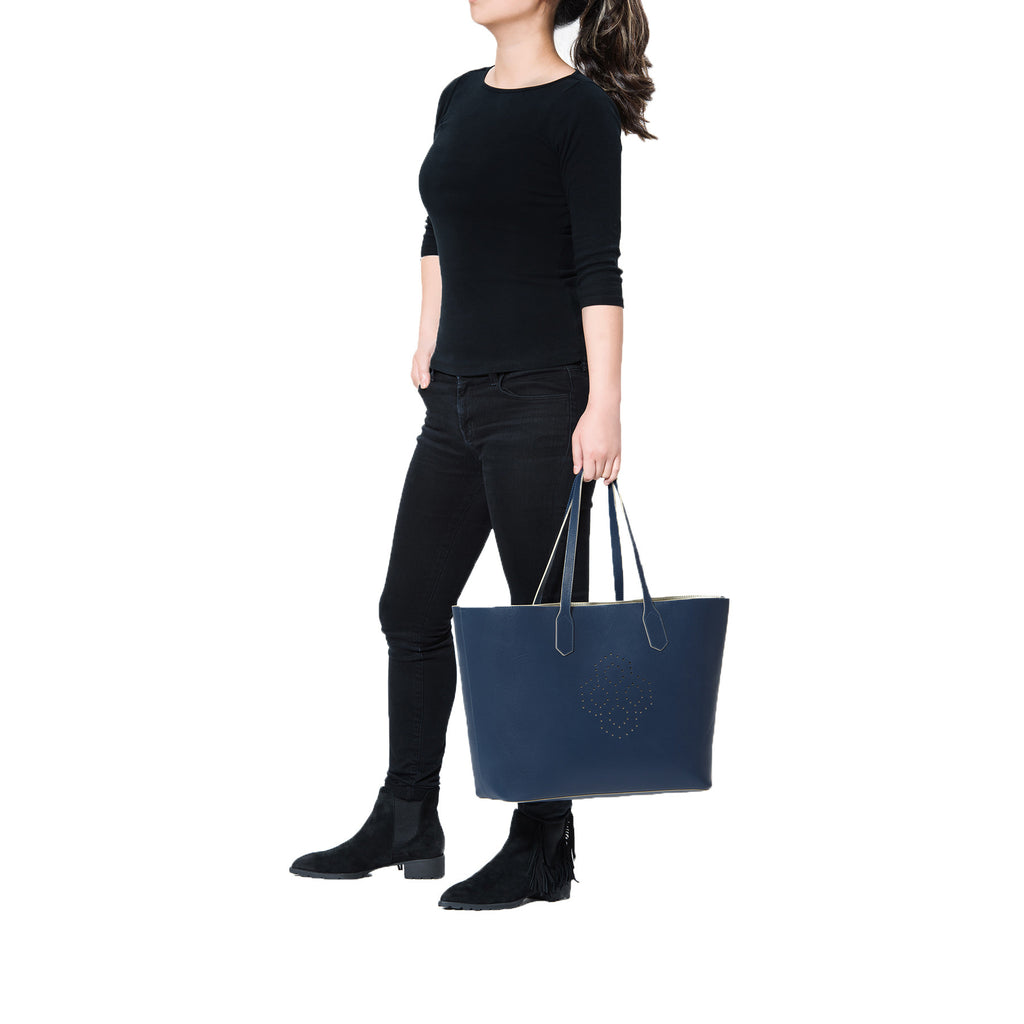 MISCHA Monogram Tote - Navy (model shot)