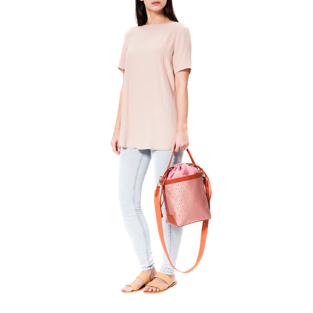 Mischa Bucket Bag - Rose (model shot)