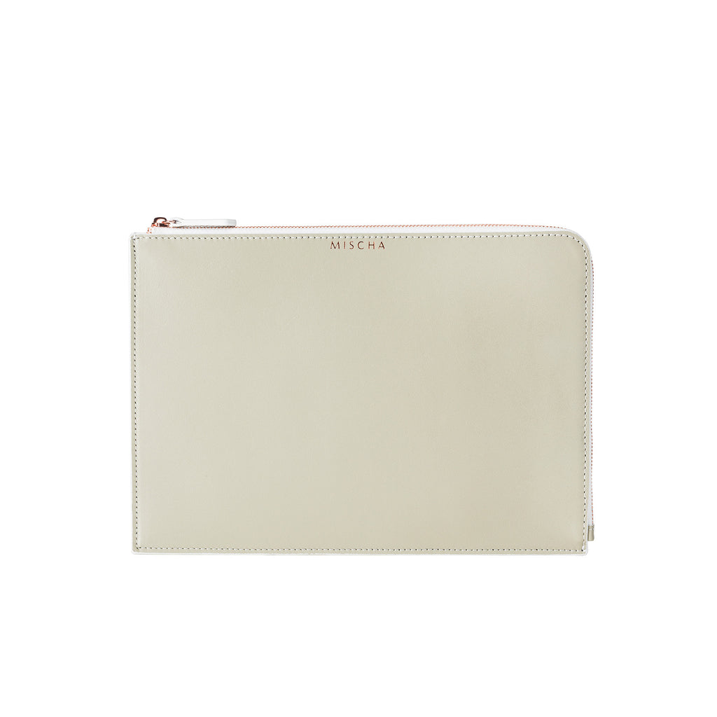 MISCHA Leather Folio Pouch - Stone