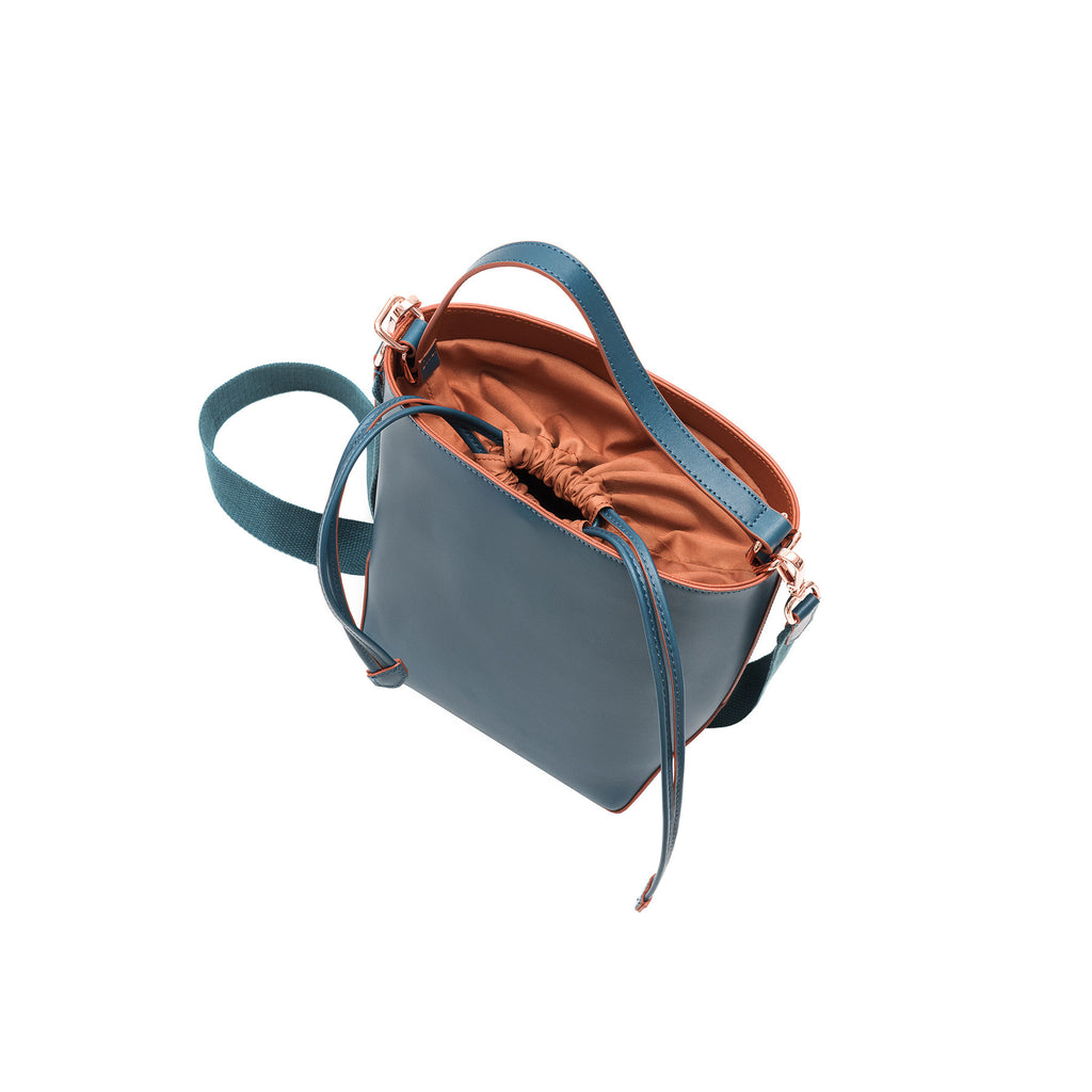 MISCHA Leather Bucket Bag - Fern (top closed)