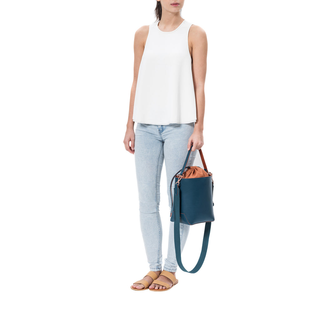 Leather Bucket Bag - Fern