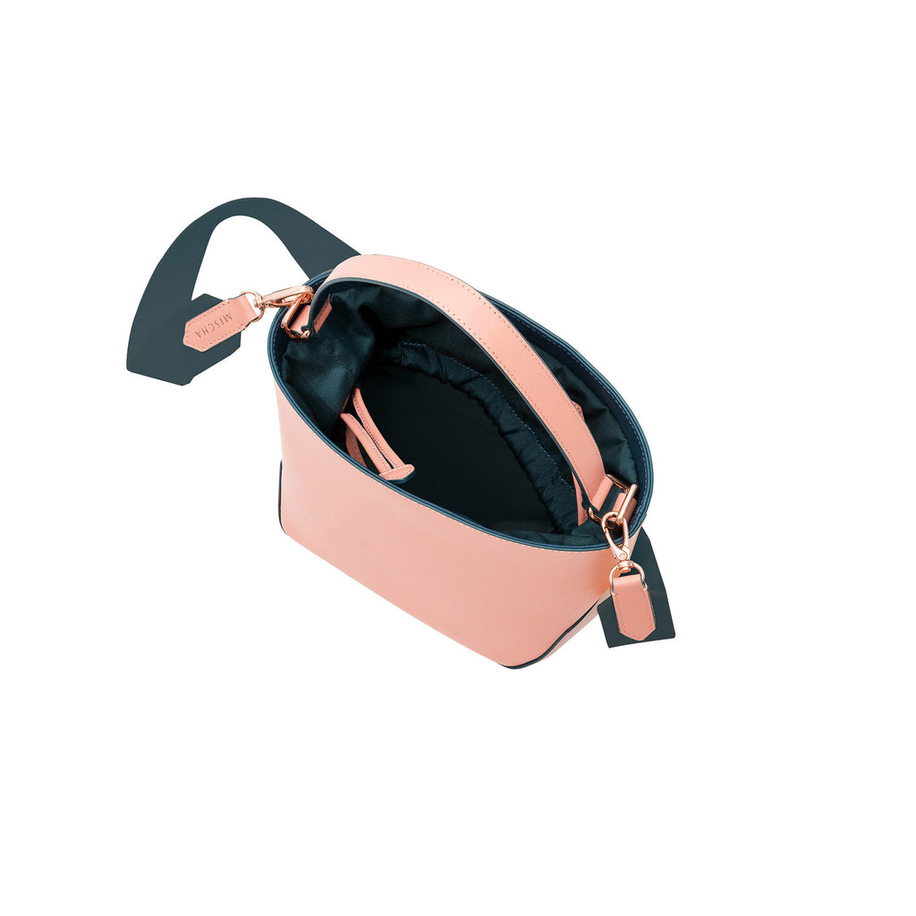 MISCHA Leather Bucket Bag - Rose (top open)