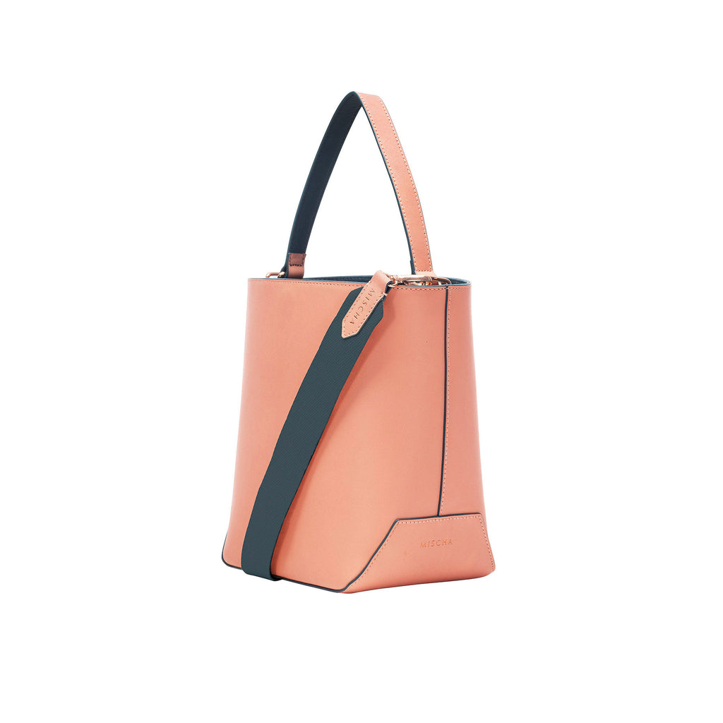 MISCHA Leather Bucket Bag - Rose (side2)