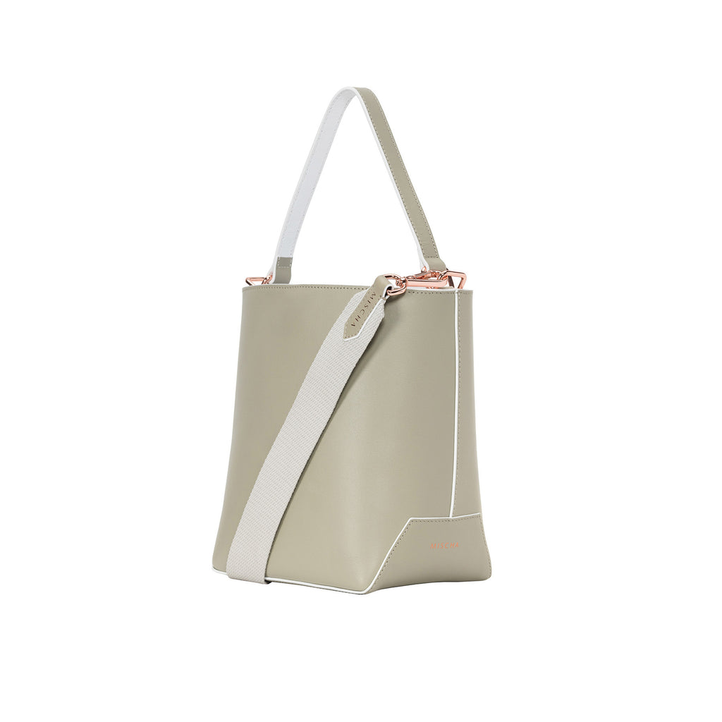 MISCHA Leather Bucket Bag - Stone (side)