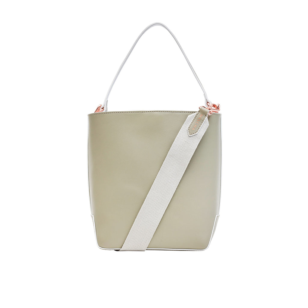 MISCHA Leather Bucket Bag - Stone