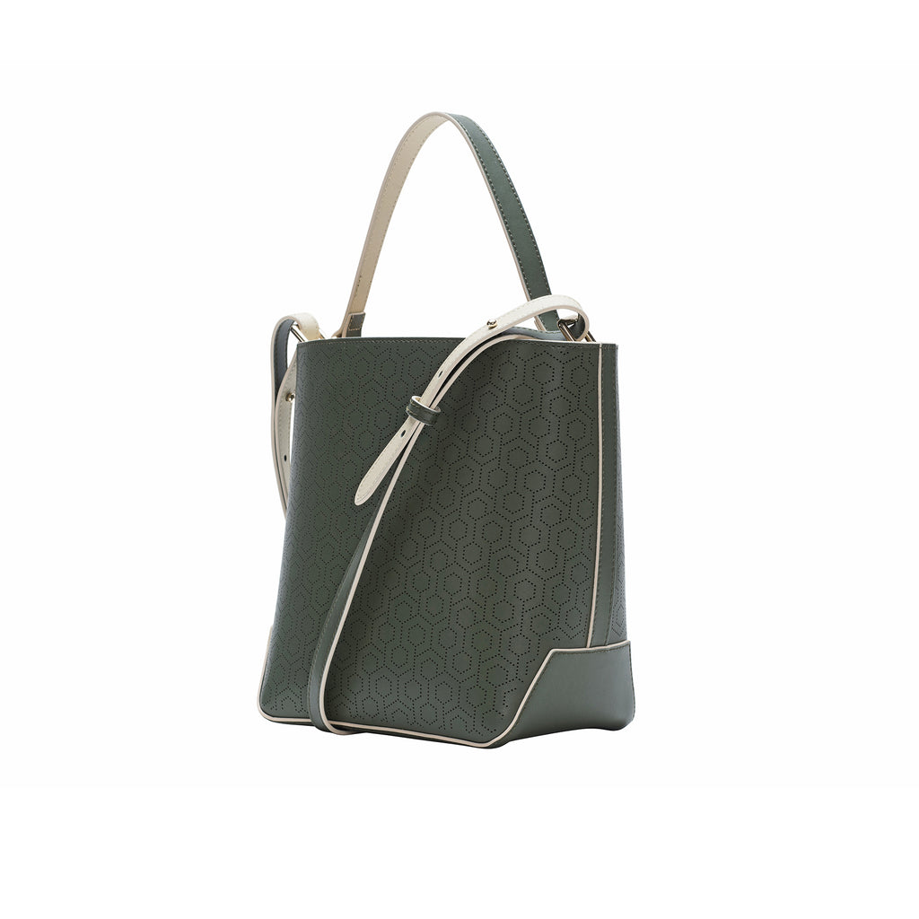 MISCHA Leather Bucket Bag - Ash (side)