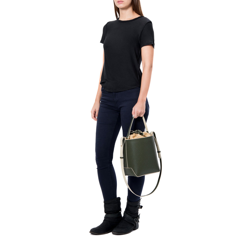 MISCHA Leather Bucket Bag - Ash (model shot)