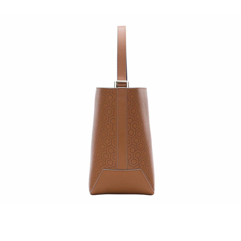 MISCHA Leather Bucket Bag - Oak (side2)