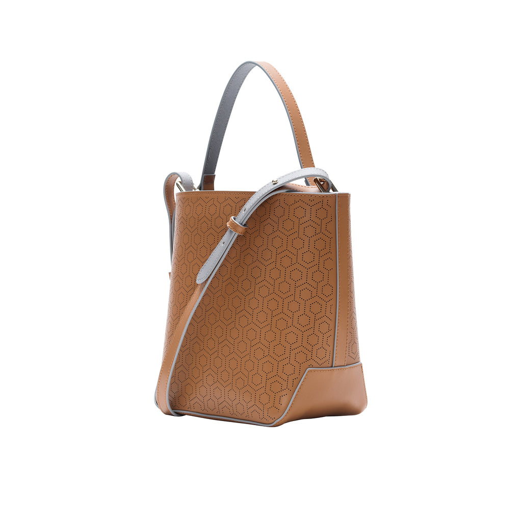 MISCHA Leather Bucket Bag - Oak (side)