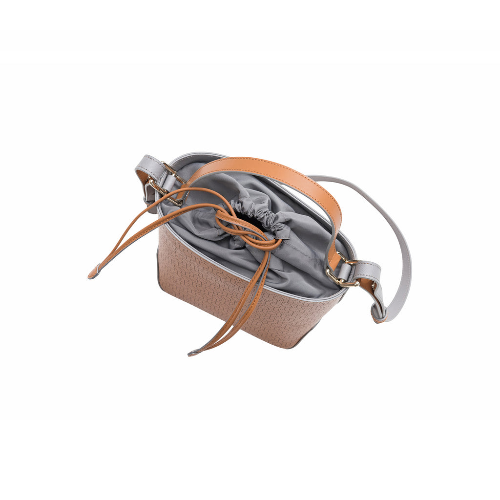MISCHA Leather Bucket Bag - Oak (top close)
