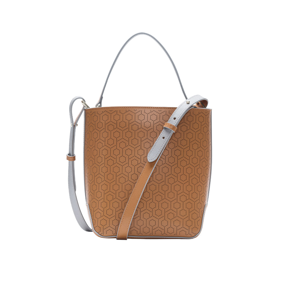 MISCHA Leather Bucket Bag - Oak