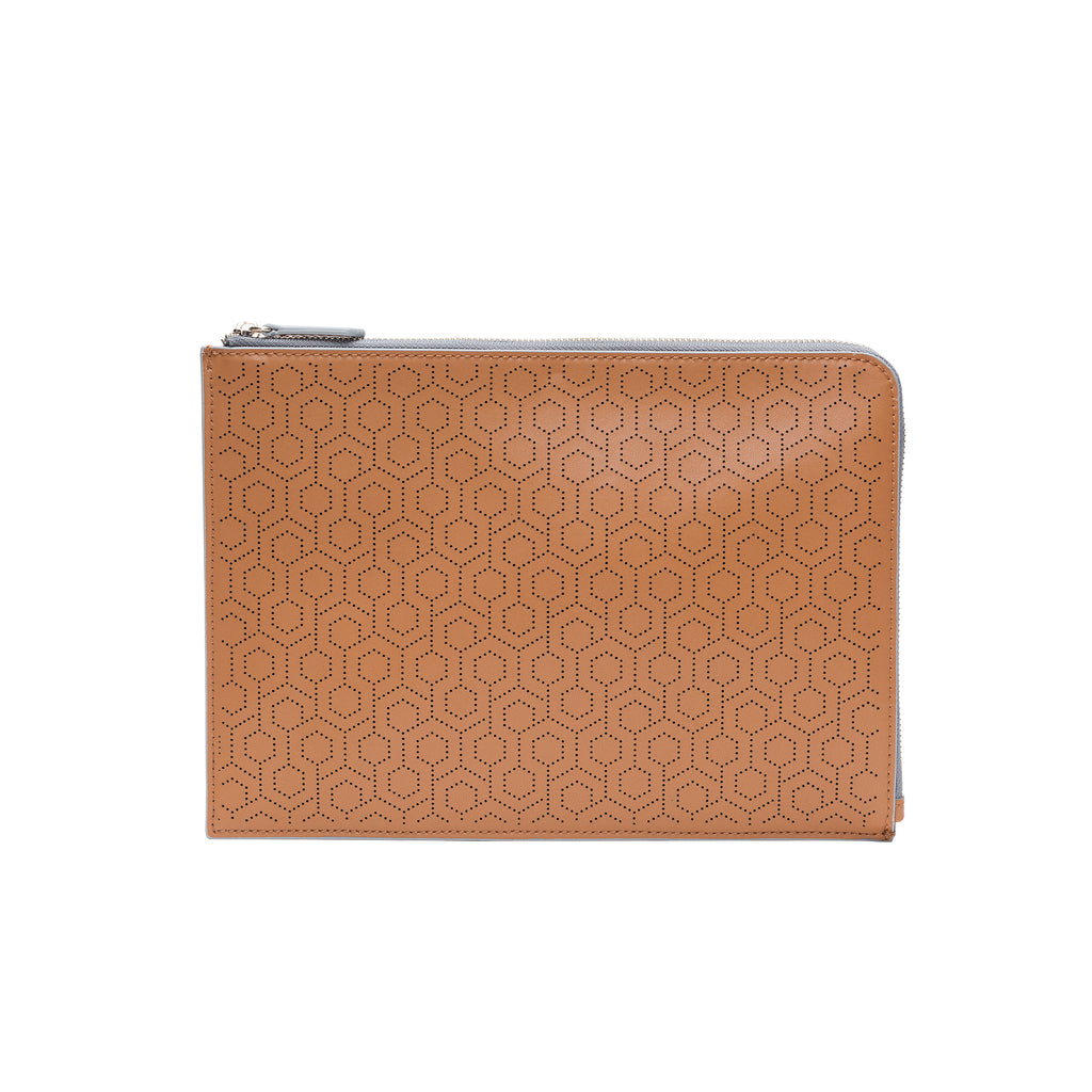 MISCHA Leather Folio Pouch - Oak