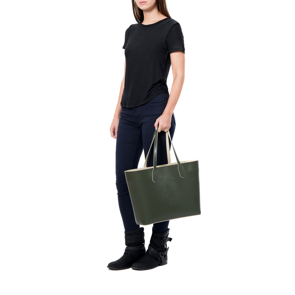 MISCHA Monogram Tote - Ash (model shot)